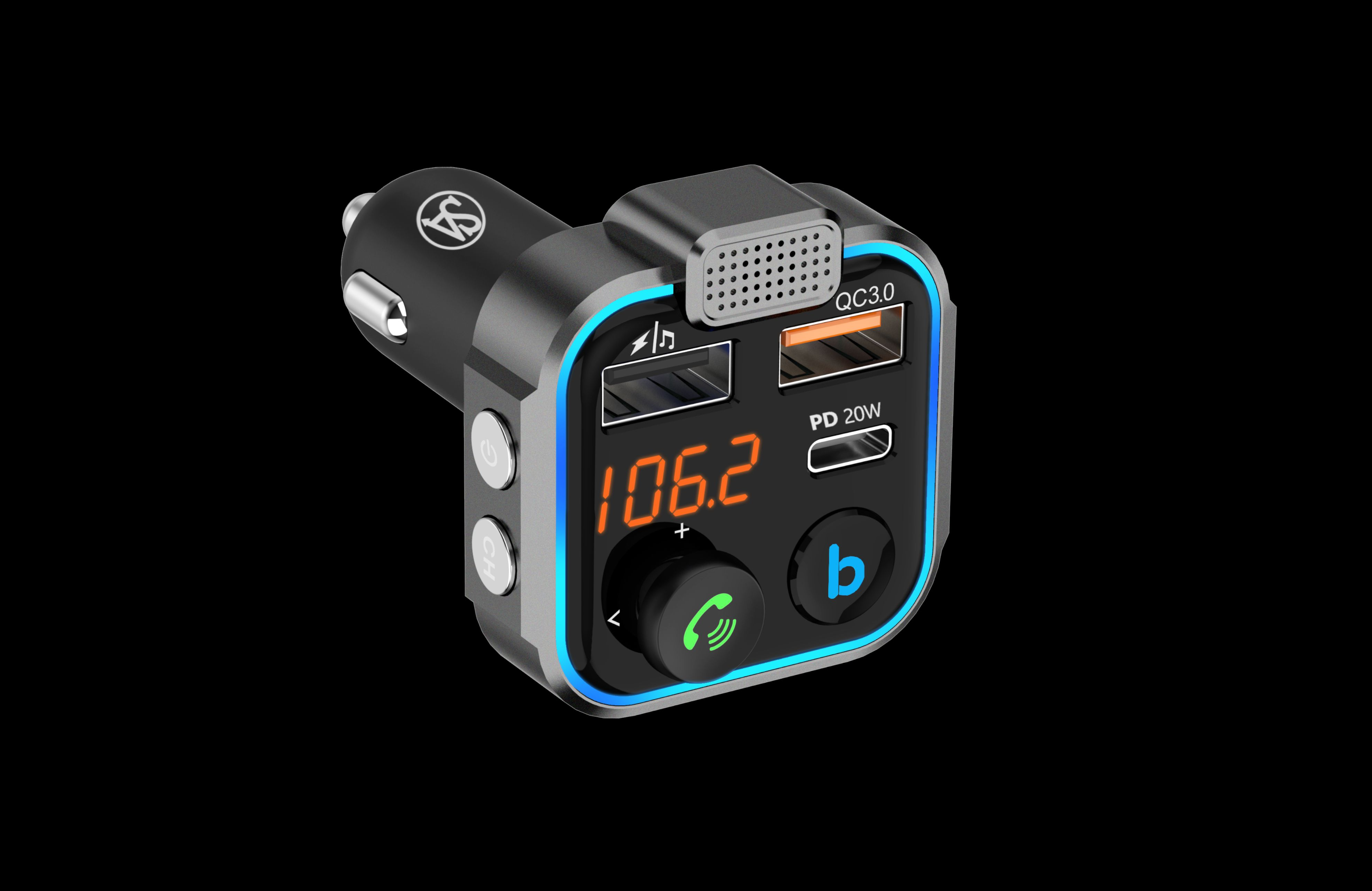 Signature Acoustics ROADRUNNER Car Bluetooth 5.0 FM Transmitter With Microphone, [QC3.0+TYPE-C PD20W] USB Port charger with MAX OUTPUT of 30W
